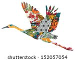 stork in japanese figures on a... | Shutterstock .eps vector #152057054