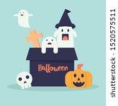 cute halloween doodle cartoon... | Shutterstock .eps vector #1520575511