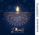 happy diwali greeting card of... | Shutterstock .eps vector #1520599721