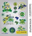 made in brazil  seals  flags ... | Shutterstock .eps vector #152059991