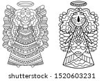 angels coloring book page.... | Shutterstock . vector #1520603231