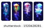 Glowing Vivid Jellyfish On...