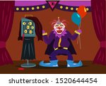 a freaky clown reveals a cage... | Shutterstock .eps vector #1520644454