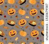halloween seamless patterns.... | Shutterstock .eps vector #1520679587