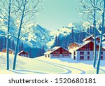 Alpine Village With Forest And...
