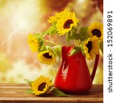 Sunflower Bouquet In Red Jug O...