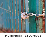 Old Gate And Locked Chain