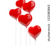 Red Heart Balloons Isolated On...