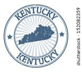 Grunge rubber stamp with the name and map of Kentucky, vector illustration