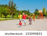 excited kids running with a... | Shutterstock . vector #152090831