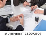 three people sitting at a table ... | Shutterstock . vector #152093909