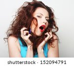 young expressive redhair woman... | Shutterstock . vector #152094791
