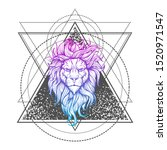vector tattoo lion.... | Shutterstock .eps vector #1520971547