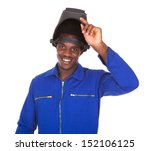 portrait of happy male welder... | Shutterstock . vector #152106125