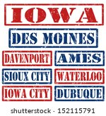 Set of Iowa cities stamps on white background, vector illustration