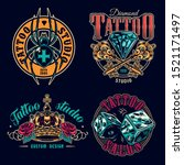 tattoo salon colorful labels... | Shutterstock .eps vector #1521171497