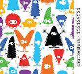 cute monsters   seamless pattern | Shutterstock .eps vector #152129531