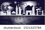 european landmarks at night... | Shutterstock .eps vector #1521325784