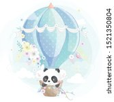 cute little panda in the air... | Shutterstock .eps vector #1521350804