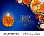 illustration of burning diya... | Shutterstock .eps vector #1521376421