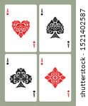 playing card aces with retro... | Shutterstock .eps vector #1521402587