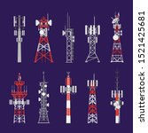Radio masts and telecommunication towers and satellite signal antenna transmitters, vector icons. Different types of telecom transmitter towers, television and radio waves broadcasting antenna poles