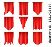 red flag  pennants and hanging... | Shutterstock .eps vector #1521425684