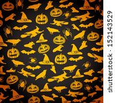 seamless halloween background... | Shutterstock .eps vector #152143529