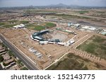 Construction of ballpark in Mesa, Arizona as viewed from above - stock photo