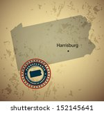 Pennsylvania map with stamp vintage vector background
