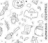 halloween seamless pattern.... | Shutterstock .eps vector #1521459611