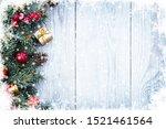 christmas fir tree branches... | Shutterstock . vector #1521461564