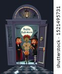 terrified kids on the doorway... | Shutterstock .eps vector #1521495731