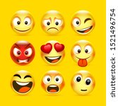 emoji and sad icon set. vector... | Shutterstock .eps vector #1521496754