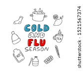 hand drawn cold and flu season... | Shutterstock .eps vector #1521567374