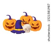 pumpkins with hat witch and...   Shutterstock .eps vector #1521581987