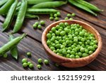 Green Peas In Wooden Bowl On...