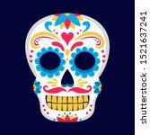 skull flat design day of the... | Shutterstock .eps vector #1521637241