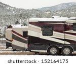 rv campsite in snow at estes...   Shutterstock . vector #152164175