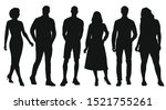 black silhouettes of women and... | Shutterstock .eps vector #1521755261