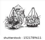 sketch of vietnamese flowers...   Shutterstock .eps vector #1521789611