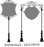 wrought iron signage with lamp  ... | Shutterstock . vector #152179979