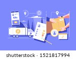 package unloading and delivery... | Shutterstock .eps vector #1521817994