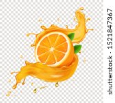 juicy orangefruit in realistic... | Shutterstock .eps vector #1521847367