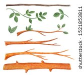 Set Of Tree Trunk Branches...