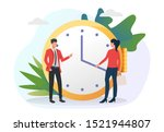 man and woman moving clock...