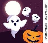 ghost with moon in scene of... | Shutterstock .eps vector #1521960584