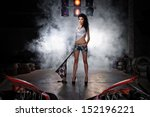carting referee with flag on go ... | Shutterstock . vector #152196221