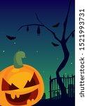 halloween pumpkin with fear... | Shutterstock .eps vector #1521993731
