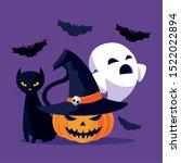 cat ghost and pumpkin cartoon...   Shutterstock .eps vector #1522022894